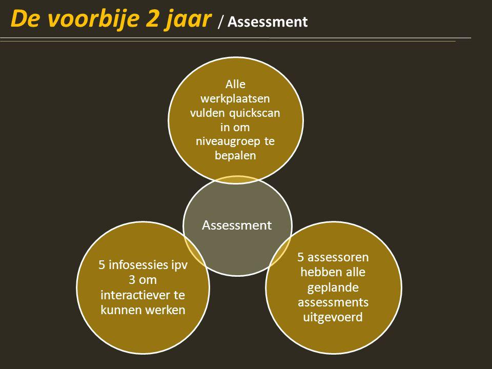 Assessment Alle werkplaatsen vulden quickscan in om niveaugroep te bepalen 5 assessoren hebben alle geplande assessments uitgevoerd 5 infosessies ipv 3 om interactiever te kunnen werken De voorbije 2 jaar / Assessment