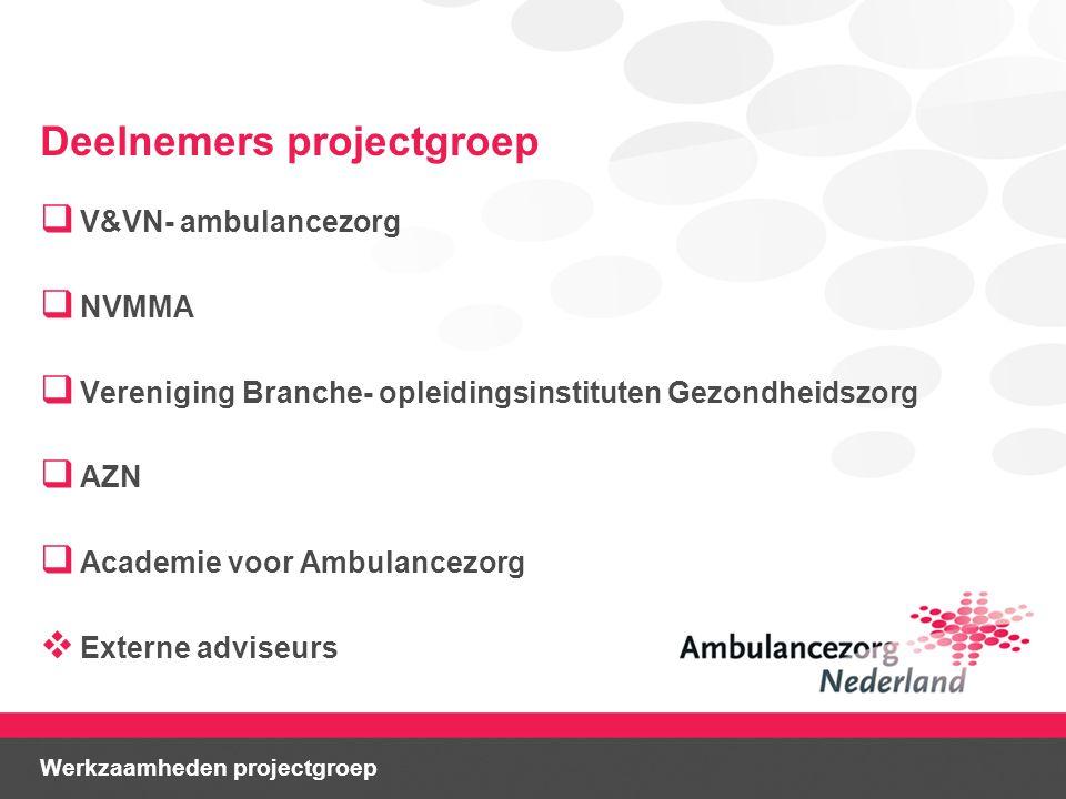 Deelnemers projectgroep  V&VN- ambulancezorg  NVMMA  Vereniging Branche- opleidingsinstituten Gezondheidszorg  AZN  Academie voor Ambulancezorg  Externe adviseurs Werkzaamheden projectgroep