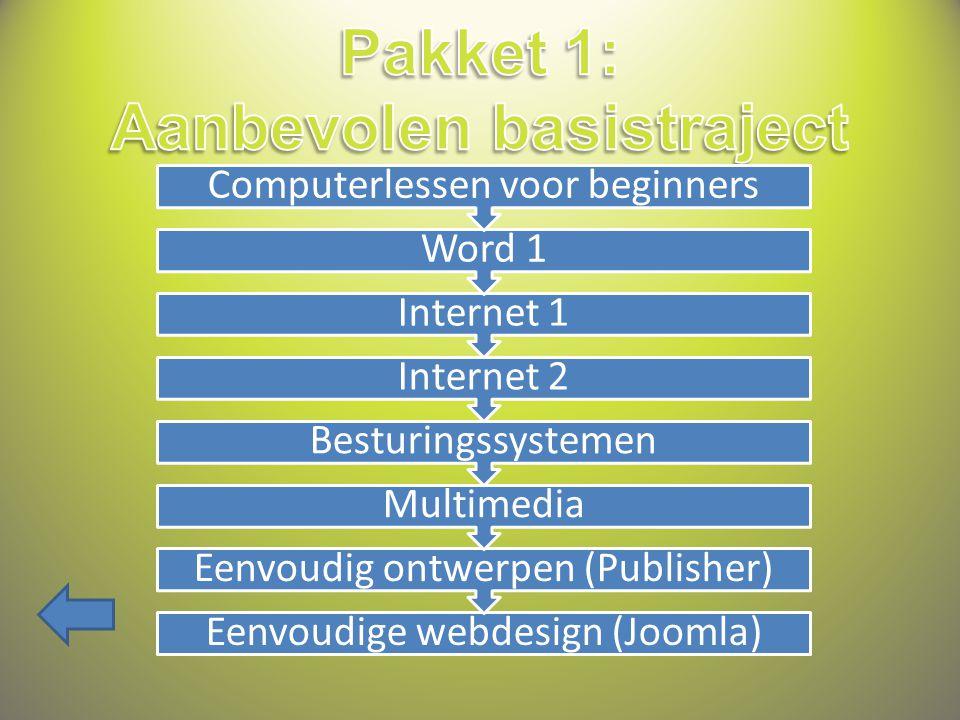 Eenvoudige webdesign (Joomla) Eenvoudig ontwerpen (Publisher) Multimedia Besturingssystemen Internet 2 Internet 1 Word 1 Computerlessen voor beginners