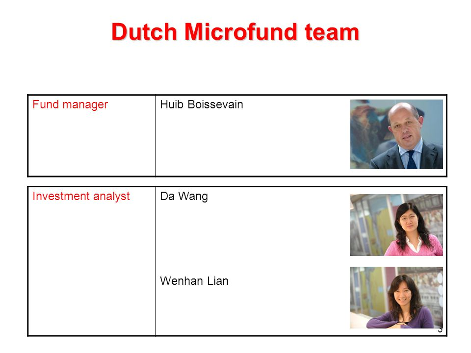 3 Dutch Microfund team Investment analystDa Wang Wenhan Lian Fund managerHuib Boissevain