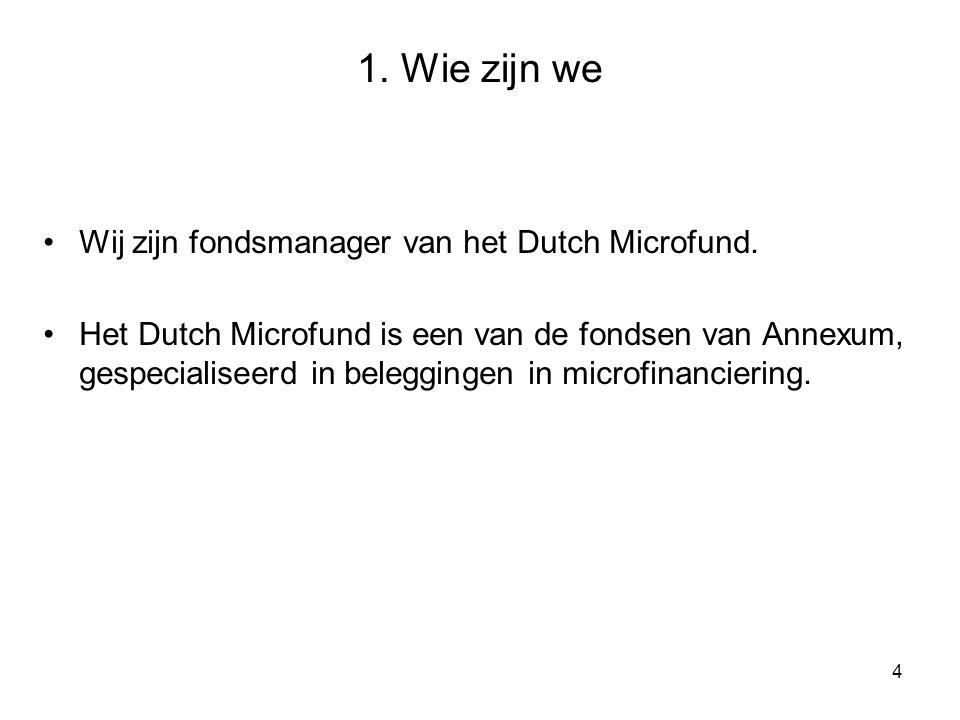 4 1.Wie zijn we Wij zijn fondsmanager van het Dutch Microfund.