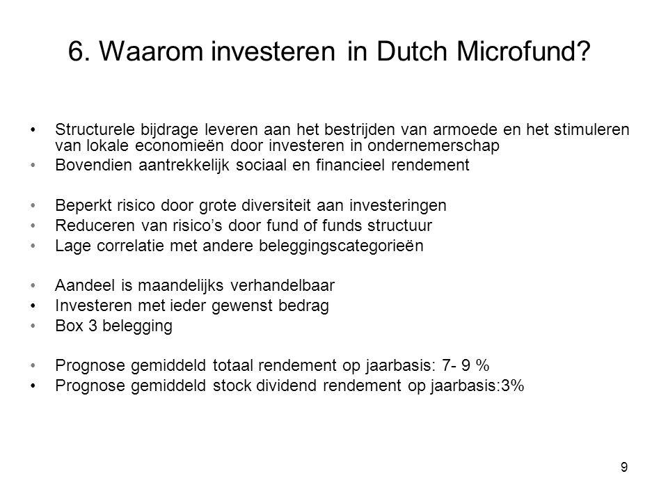 8 5. Details Dutch Microfund Emissie koers Euro 50* BiedprijsKoers** - 1% Laatprijs Koers** + 1% Management fee 0,1 % per maand over belegd vermogen S