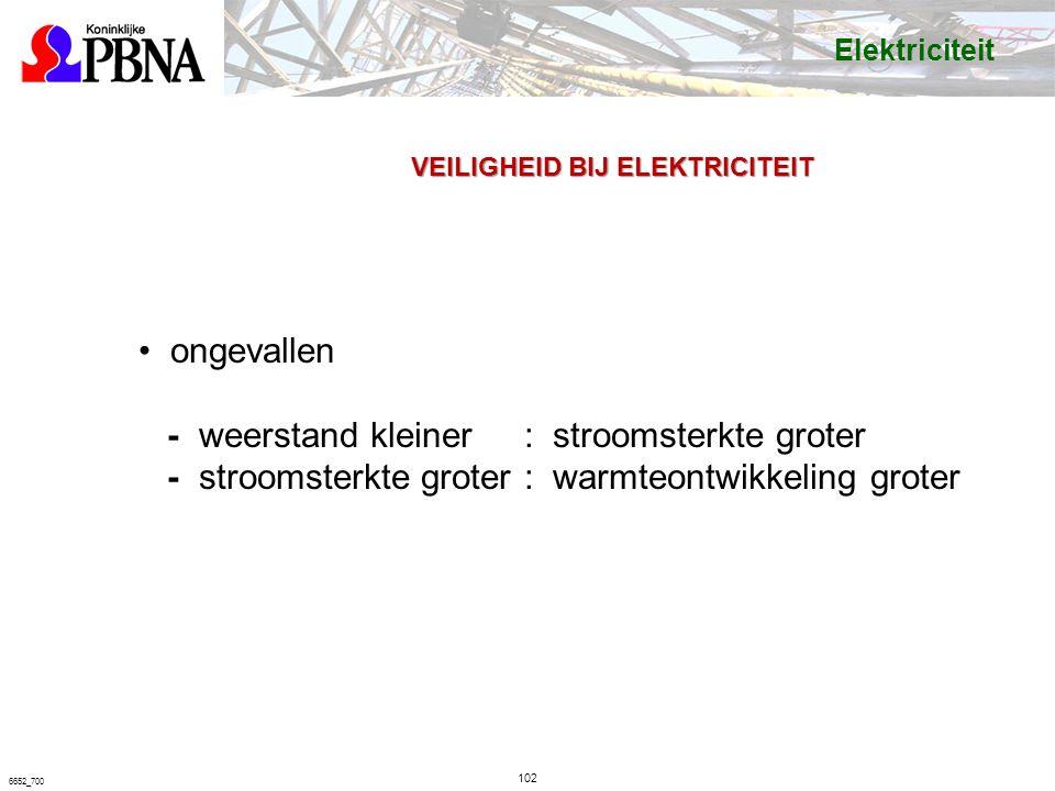 102 6652_700 VEILIGHEID BIJ ELEKTRICITEIT ongevallen - weerstand kleiner: stroomsterkte groter - stroomsterkte groter: warmteontwikkeling groter Elektriciteit