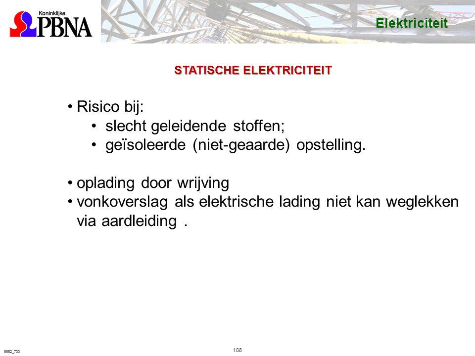 108 6652_700 STATISCHE ELEKTRICITEIT Risico bij: slecht geleidende stoffen; geïsoleerde (niet-geaarde) opstelling.