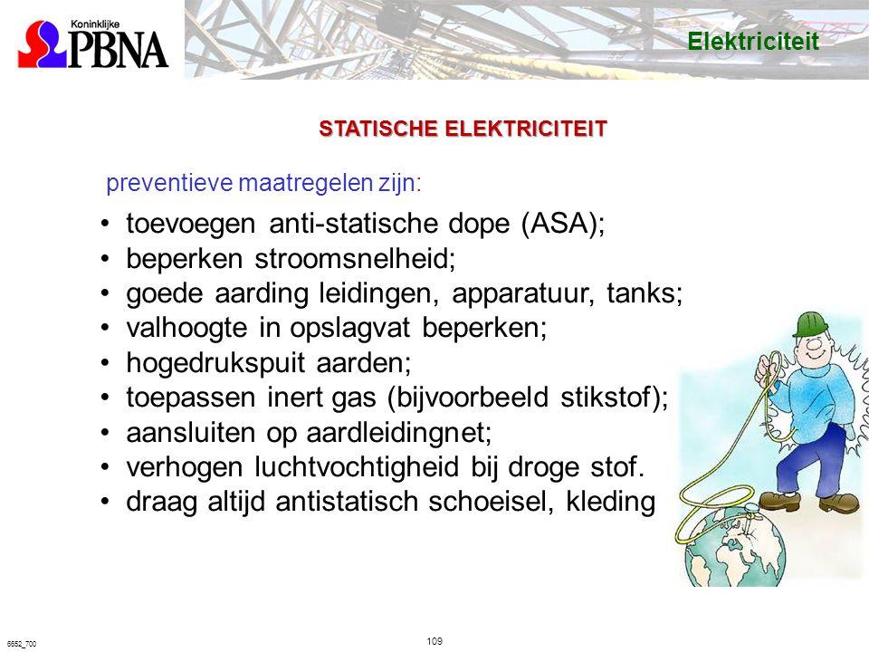 109 6652_700 preventieve maatregelen zijn: toevoegen anti-statische dope (ASA); beperken stroomsnelheid; goede aarding leidingen, apparatuur, tanks; valhoogte in opslagvat beperken; hogedrukspuit aarden; toepassen inert gas (bijvoorbeeld stikstof); aansluiten op aardleidingnet; verhogen luchtvochtigheid bij droge stof.