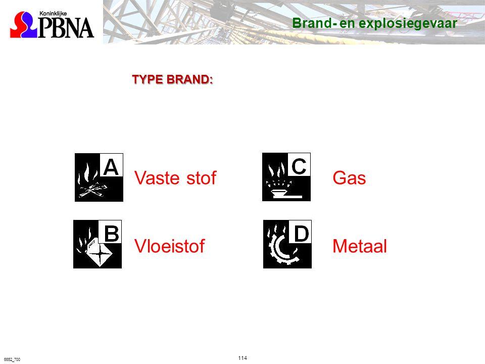 114 6652_700 TYPE BRAND: Vaste stof Vloeistof Gas Metaal Brand- en explosiegevaar