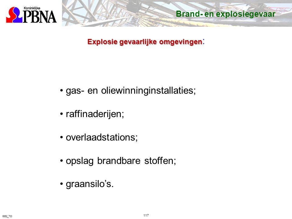 117 6652_700 gas- en oliewinninginstallaties; raffinaderijen; overlaadstations; opslag brandbare stoffen; graansilo's.
