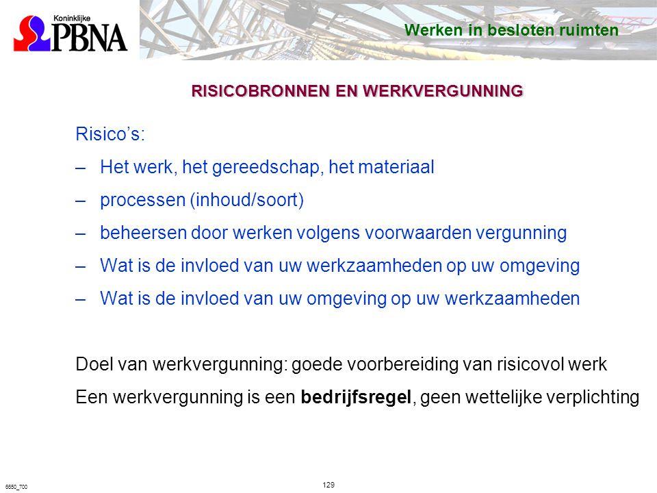 6650_700 RISICOBRONNEN EN WERKVERGUNNING Risico's: –Het werk, het gereedschap, het materiaal –processen (inhoud/soort) –beheersen door werken volgens voorwaarden vergunning –Wat is de invloed van uw werkzaamheden op uw omgeving –Wat is de invloed van uw omgeving op uw werkzaamheden Doel van werkvergunning: goede voorbereiding van risicovol werk Een werkvergunning is een bedrijfsregel, geen wettelijke verplichting Werken in besloten ruimten 129