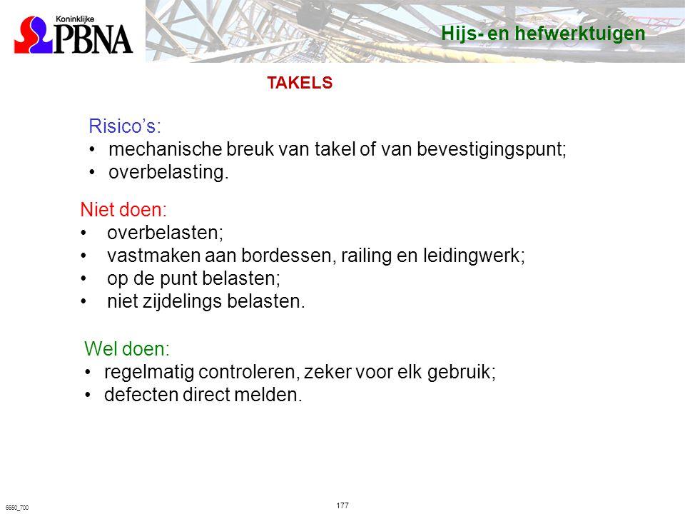 177 6650_700 Risico's: mechanische breuk van takel of van bevestigingspunt; overbelasting.