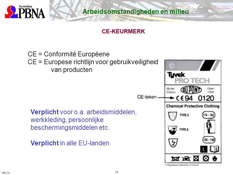 6650_700 CE-KEURMERK Arbeidsomstandigheden en milieu CE = Conformité Européene CE = Europese richtlijn voor gebruikveiligheid van producten Verplicht voor o.a.