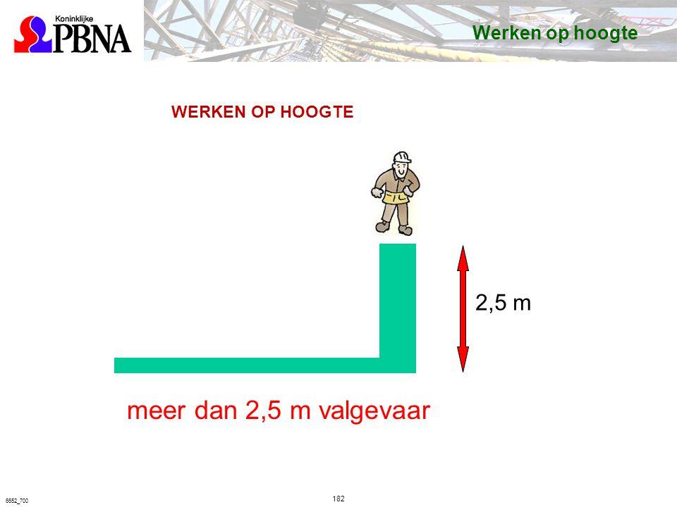 182 6652_700 2,5 m WERKEN OP HOOGTE meer dan 2,5 m valgevaar Werken op hoogte