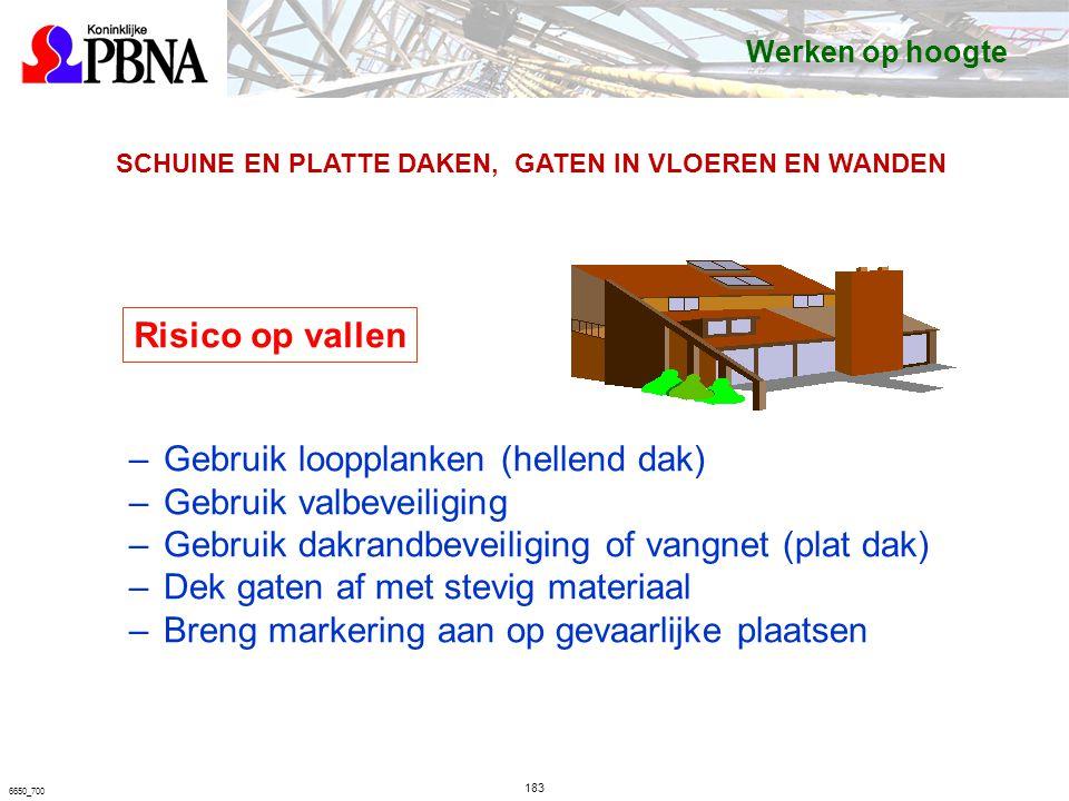 6650_700 SCHUINE EN PLATTE DAKEN, GATEN IN VLOEREN EN WANDEN Risico op vallen –Gebruik loopplanken (hellend dak) –Gebruik valbeveiliging –Gebruik dakrandbeveiliging of vangnet (plat dak) –Dek gaten af met stevig materiaal –Breng markering aan op gevaarlijke plaatsen Werken op hoogte 183