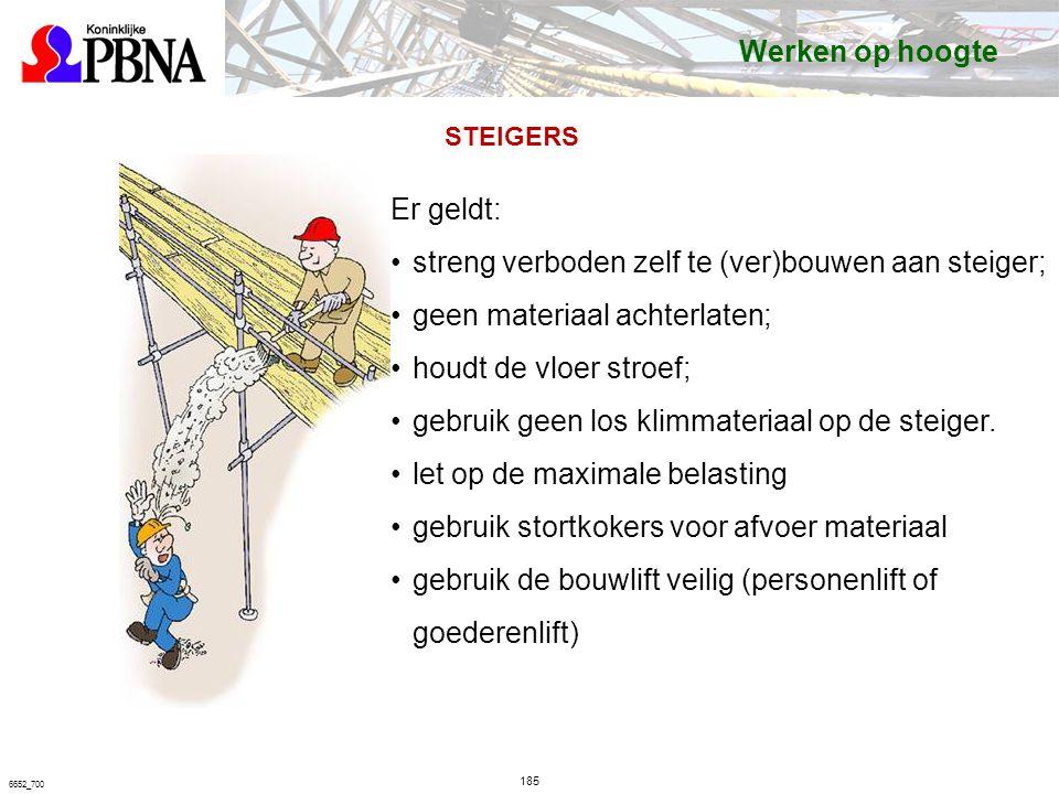 185 6652_700 STEIGERS Er geldt: streng verboden zelf te (ver)bouwen aan steiger; geen materiaal achterlaten; houdt de vloer stroef; gebruik geen los klimmateriaal op de steiger.