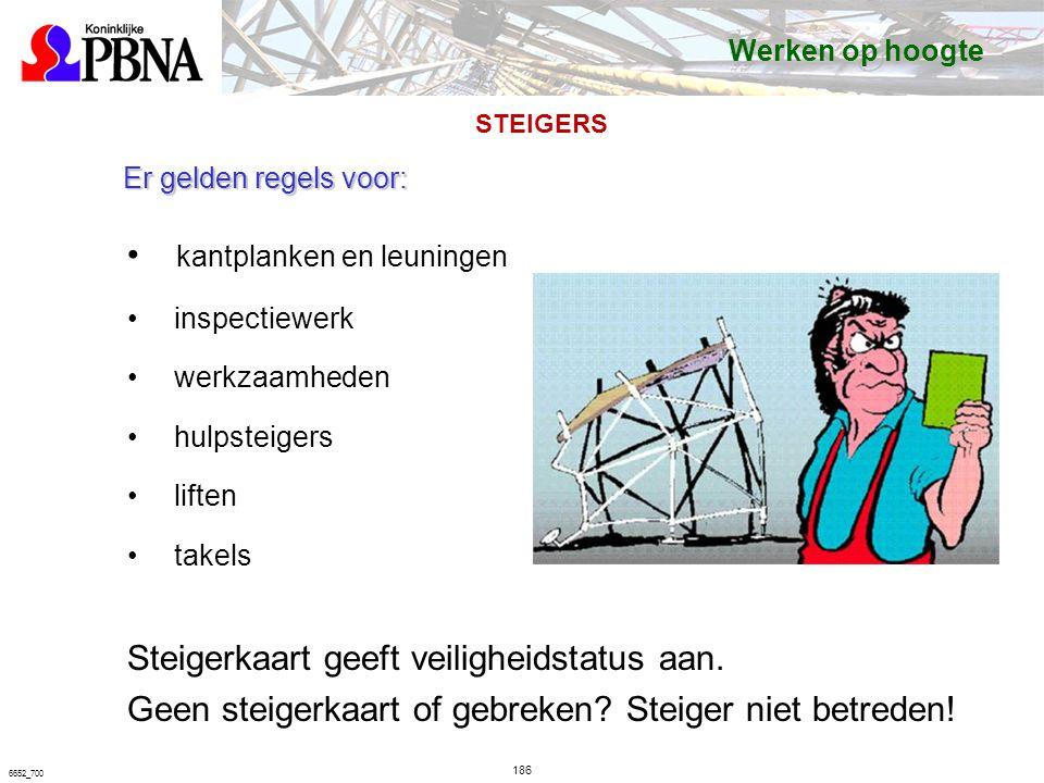 186 6652_700 Er gelden regels voor: kantplanken en leuningen inspectiewerk werkzaamheden hulpsteigers liften takels Steigerkaart geeft veiligheidstatus aan.