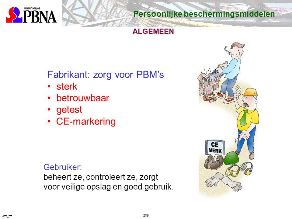 205 6652_700 Fabrikant: zorg voor PBM's sterk betrouwbaar getest CE-markering Gebruiker: beheert ze, controleert ze, zorgt voor veilige opslag en goed gebruik.