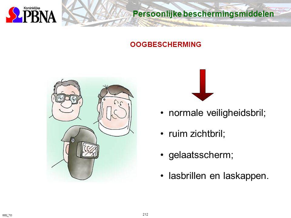 212 6652_700 OOGBESCHERMING normale veiligheidsbril; ruim zichtbril; gelaatsscherm; lasbrillen en laskappen.