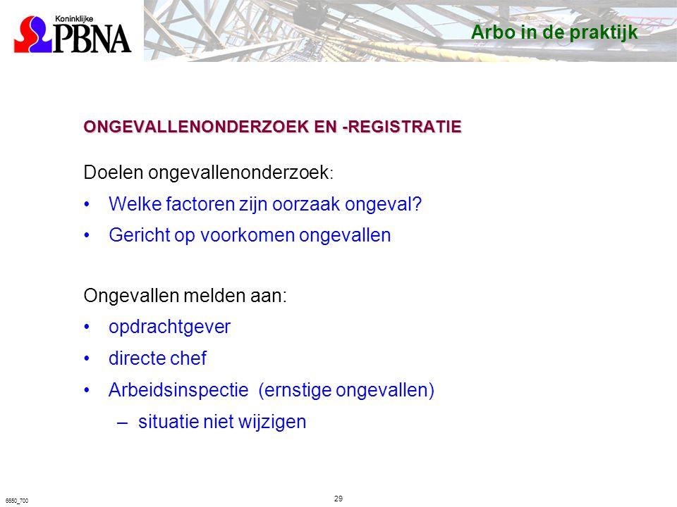 6650_700 ONGEVALLENONDERZOEK EN -REGISTRATIE Doelen ongevallenonderzoek : Welke factoren zijn oorzaak ongeval.