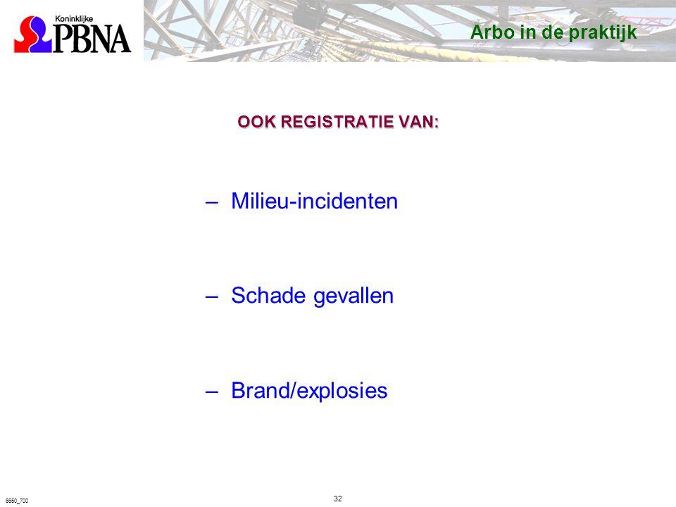6650_700 OOK REGISTRATIE VAN: –Milieu-incidenten –Schade gevallen –Brand/explosies Arbo in de praktijk 32