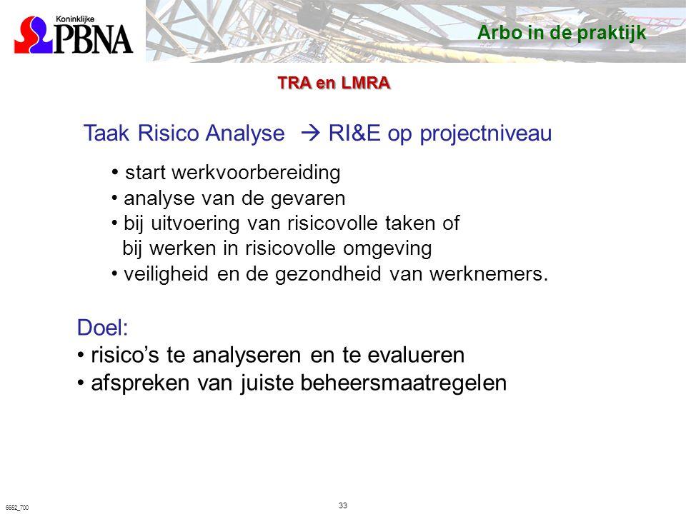 33 6652_700 Taak Risico Analyse  RI&E op projectniveau start werkvoorbereiding analyse van de gevaren bij uitvoering van risicovolle taken of bij werken in risicovolle omgeving veiligheid en de gezondheid van werknemers.