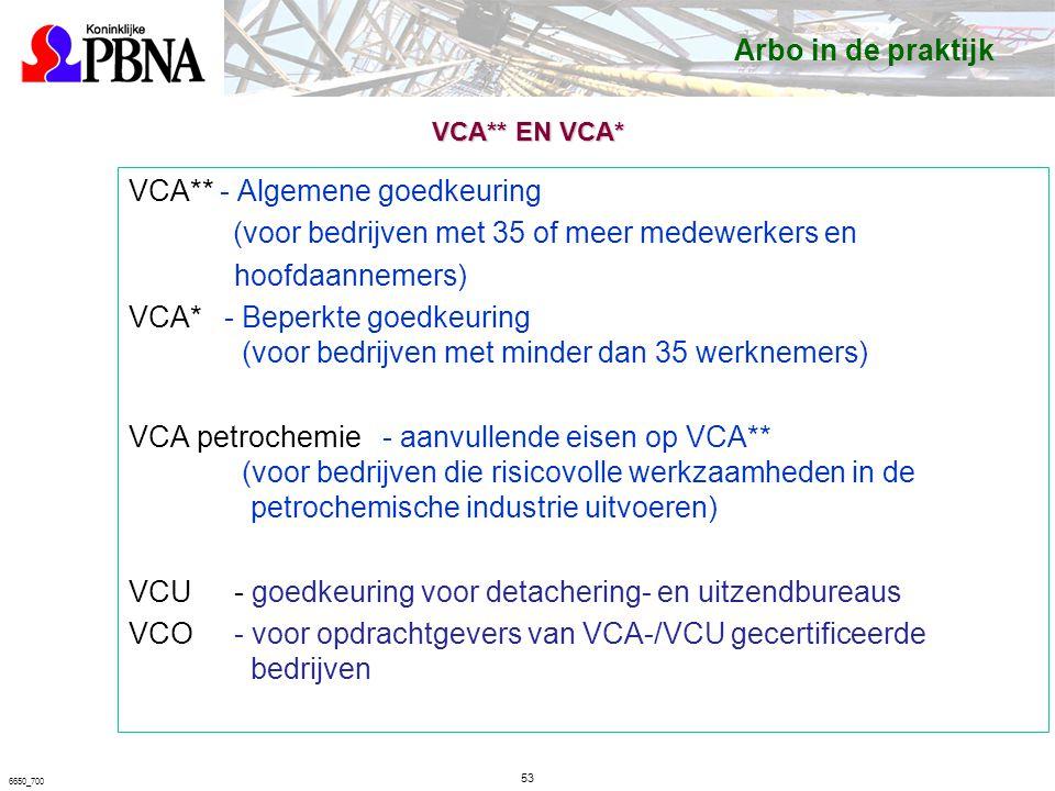 6650_700 VCA** EN VCA* VCA** - Algemene goedkeuring (voor bedrijven met 35 of meer medewerkers en hoofdaannemers) VCA* - Beperkte goedkeuring (voor bedrijven met minder dan 35 werknemers) VCA petrochemie - aanvullende eisen op VCA** (voor bedrijven die risicovolle werkzaamheden in de petrochemische industrie uitvoeren) VCU- goedkeuring voor detachering- en uitzendbureaus VCO- voor opdrachtgevers van VCA-/VCU gecertificeerde bedrijven Arbo in de praktijk 53