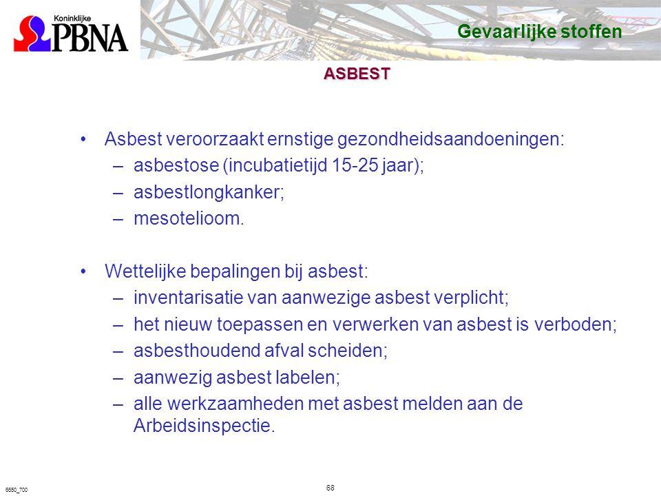 6650_700 ASBEST Asbest veroorzaakt ernstige gezondheidsaandoeningen: –asbestose (incubatietijd 15-25 jaar); –asbestlongkanker; –mesotelioom.