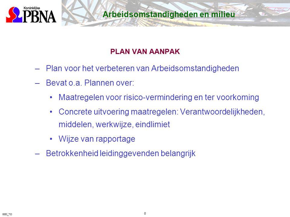 6650_700 PLAN VAN AANPAK –Plan voor het verbeteren van Arbeidsomstandigheden –Bevat o.a.