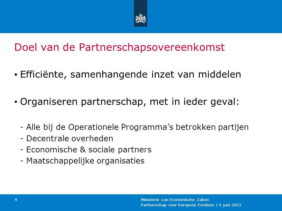 Partnerschap voor Europese Fondsen | 4 juni 2013 Ministerie van Economische Zaken 4 Doel van de Partnerschapsovereenkomst Efficiënte, samenhangende in