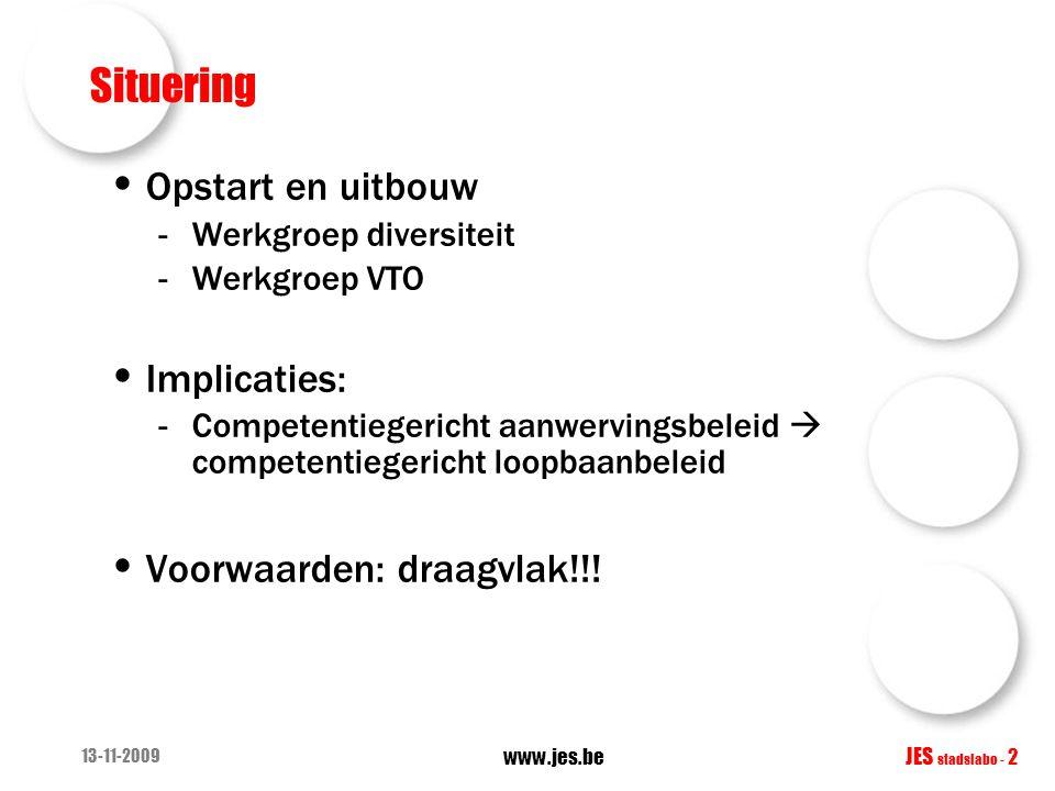 13-11-2009 www.jes.be JES stadslabo - 2 Situering Opstart en uitbouw -Werkgroep diversiteit -Werkgroep VTO Implicaties: -Competentiegericht aanwerving