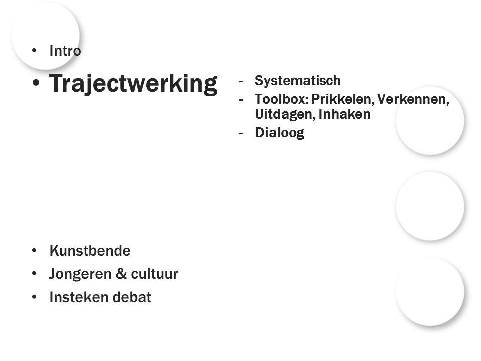 -Systematisch -Toolbox: Prikkelen, Verkennen, Uitdagen, Inhaken -Dialoog Intro Trajectwerking Kunstbende Jongeren & cultuur Insteken debat