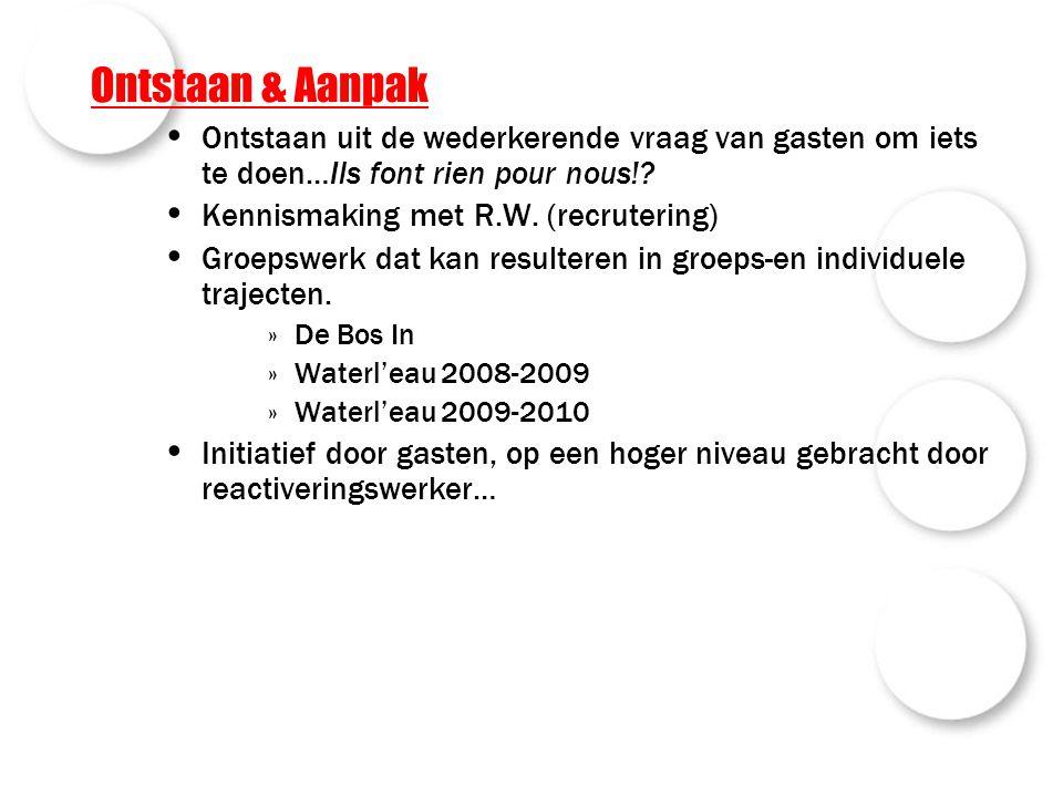 Ontstaan & Aanpak Ontstaan uit de wederkerende vraag van gasten om iets te doen…Ils font rien pour nous!? Kennismaking met R.W. (recrutering) Groepswe