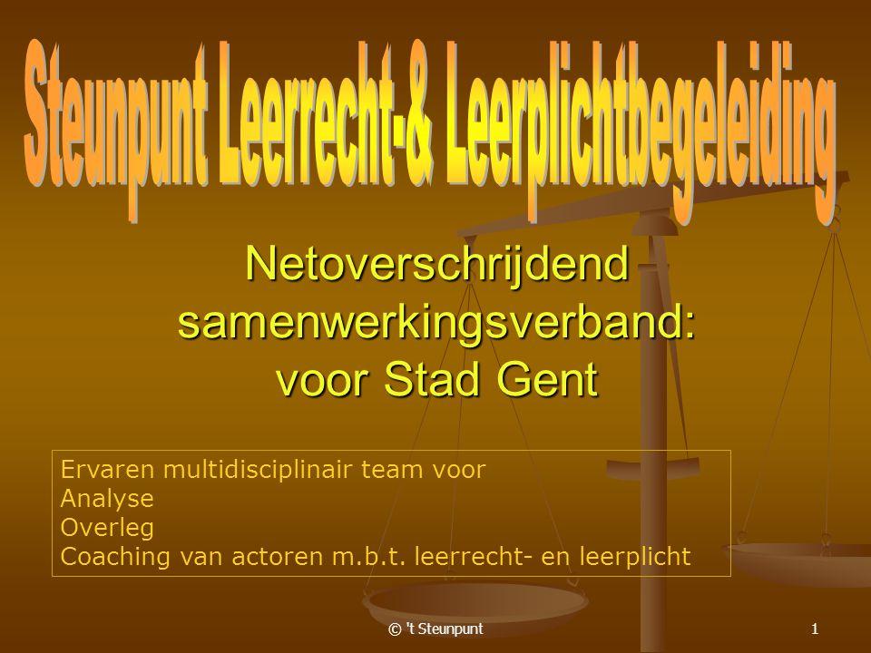 © t Steunpunt1 Netoverschrijdend samenwerkingsverband: voor Stad Gent Ervaren multidisciplinair team voor Analyse Overleg Coaching van actoren m.b.t.