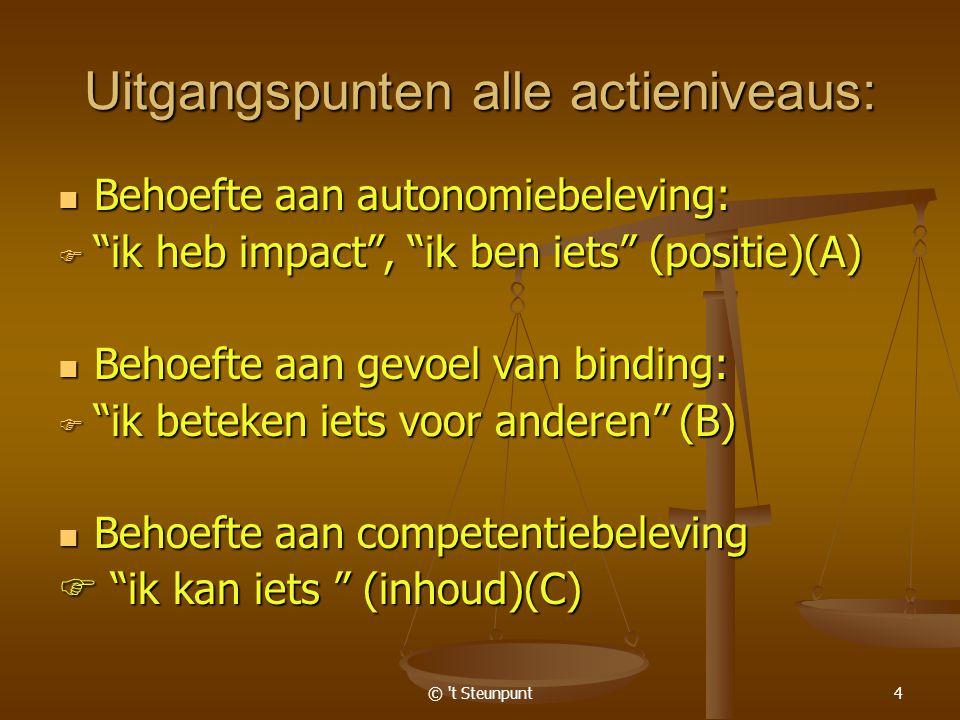 © t Steunpunt4 Uitgangspunten alle actieniveaus: Behoefte aan autonomiebeleving: Behoefte aan autonomiebeleving:  ik heb impact , ik ben iets (positie)(A) Behoefte aan gevoel van binding: Behoefte aan gevoel van binding:  ik beteken iets voor anderen (B) Behoefte aan competentiebeleving Behoefte aan competentiebeleving  ik kan iets (inhoud)(C)