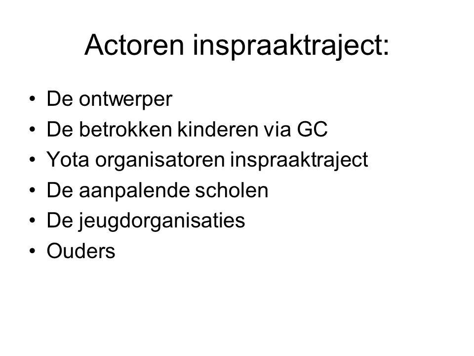 Actoren inspraaktraject: De ontwerper De betrokken kinderen via GC Yota organisatoren inspraaktraject De aanpalende scholen De jeugdorganisaties Ouder