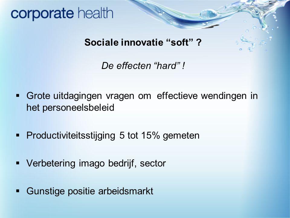 """Sociale innovatie """"soft"""" ? De effecten """"hard"""" !  Grote uitdagingen vragen om effectieve wendingen in het personeelsbeleid  Productiviteitsstijging 5"""