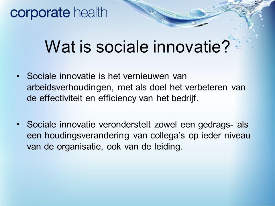 Wat is sociale innovatie? Sociale innovatie is het vernieuwen van arbeidsverhoudingen, met als doel het verbeteren van de effectiviteit en efficiency