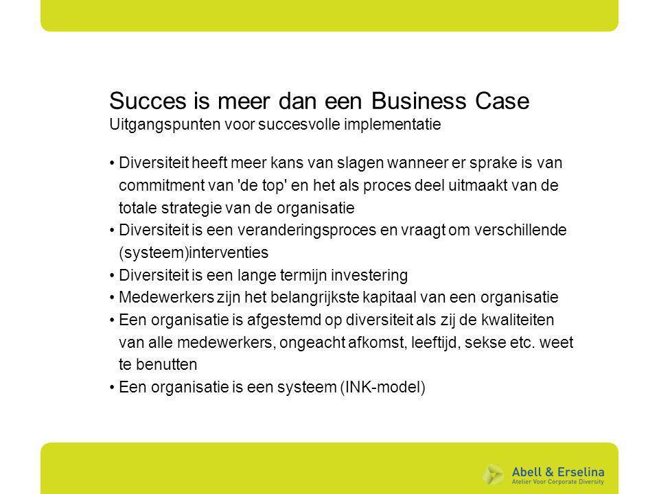 Succes is meer dan een Business Case Uitgangspunten voor succesvolle implementatie Diversiteit heeft meer kans van slagen wanneer er sprake is van com