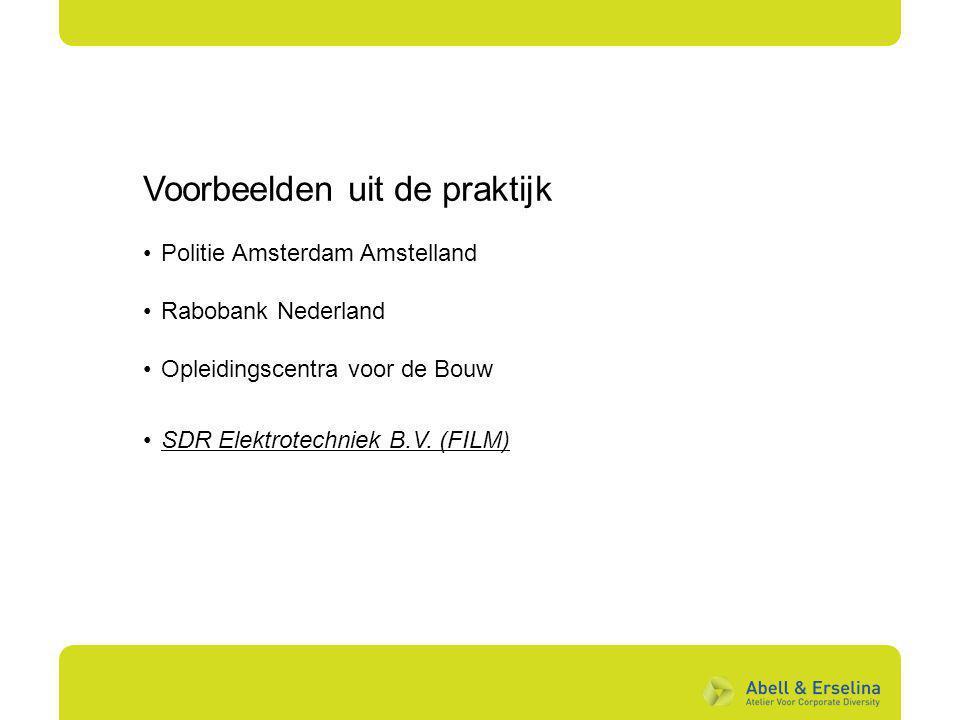 Voorbeelden uit de praktijk Politie Amsterdam Amstelland Rabobank Nederland Opleidingscentra voor de Bouw SDR Elektrotechniek B.V. (FILM )