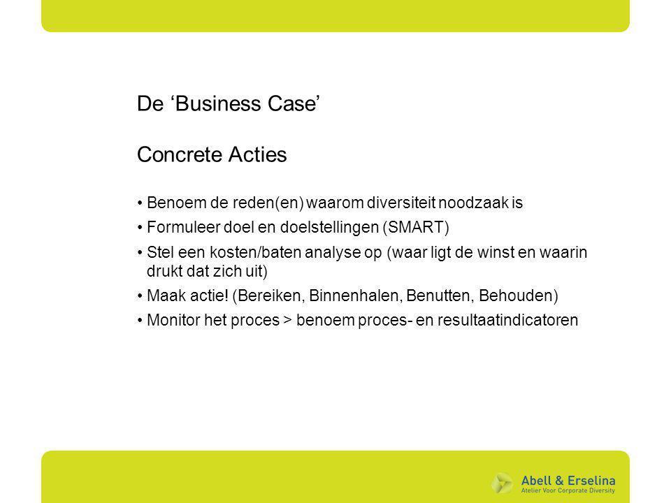 De 'Business Case' Concrete Acties Benoem de reden(en) waarom diversiteit noodzaak is Formuleer doel en doelstellingen (SMART) Stel een kosten/baten a