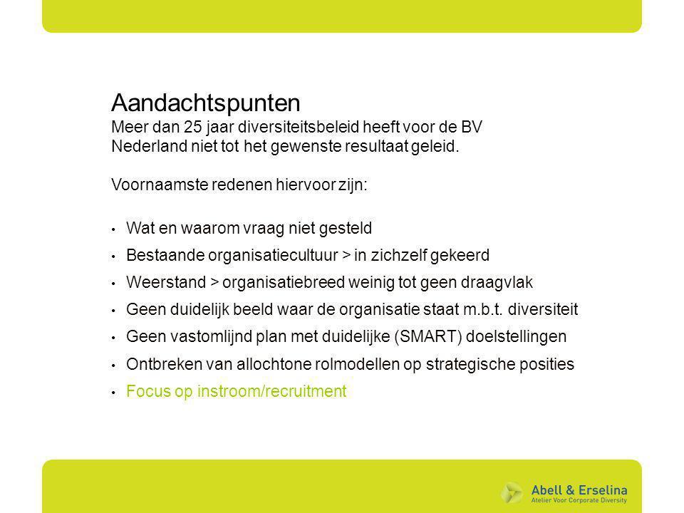 Aandachtspunten Meer dan 25 jaar diversiteitsbeleid heeft voor de BV Nederland niet tot het gewenste resultaat geleid. Voornaamste redenen hiervoor zi
