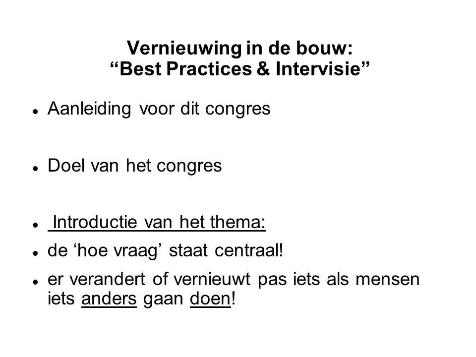 Vernieuwing in de bouw: Best Practices & Intervisie Aanleiding voor dit congres Doel van het congres Introductie van het thema: de 'hoe vraag' staat centraal.