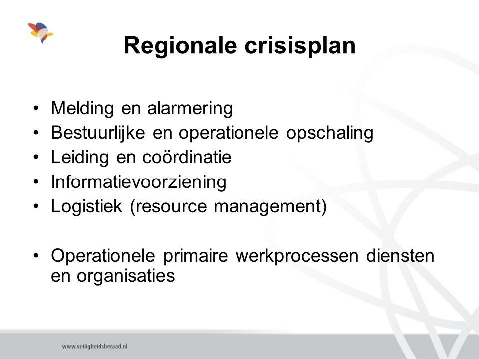 Regionale crisisplan Melding en alarmering Bestuurlijke en operationele opschaling Leiding en coördinatie Informatievoorziening Logistiek (resource management) Operationele primaire werkprocessen diensten en organisaties