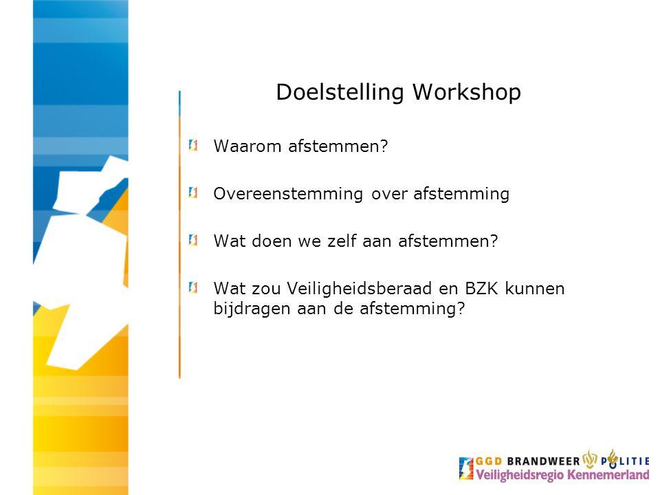Doelstelling Workshop Waarom afstemmen.
