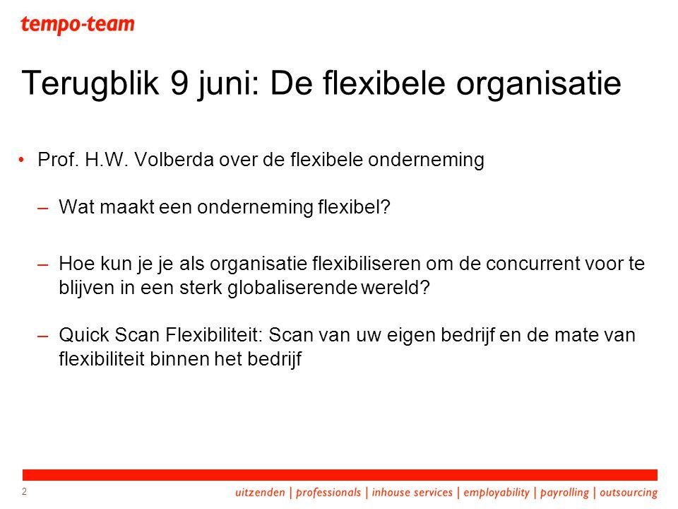 2 Terugblik 9 juni: De flexibele organisatie Prof. H.W. Volberda over de flexibele onderneming –Wat maakt een onderneming flexibel? –Hoe kun je je als