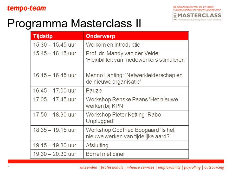 5 Programma Masterclass II TijdstipOnderwerp 15.30 – 15.45 uurWelkom en introductie 15.45 – 16.15 uurProf. dr. Mandy van der Velde: 'Flexibiliteit van