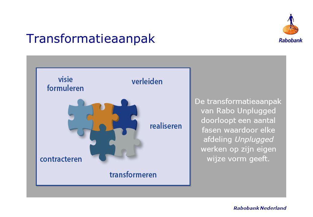Rabobank Nederland Transformatieaanpak De transformatieaanpak van Rabo Unplugged doorloopt een aantal fasen waardoor elke afdeling Unplugged werken op