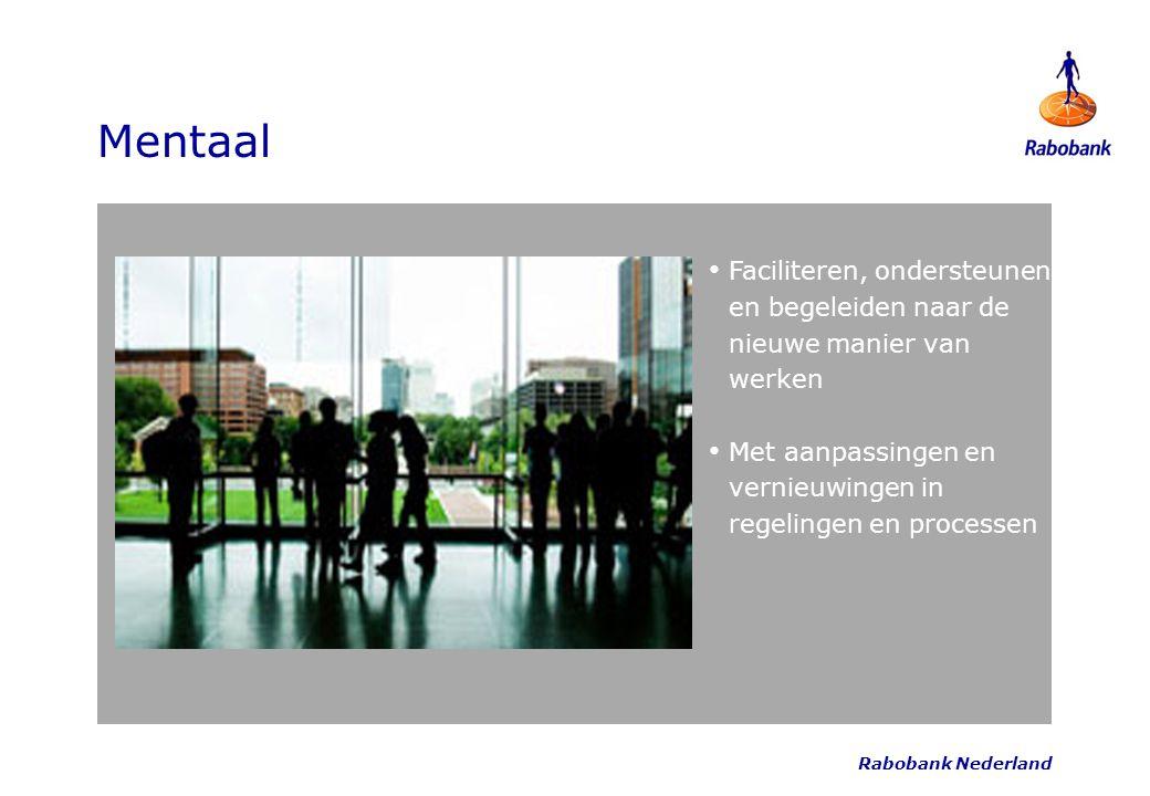 Rabobank Nederland Mentaal Faciliteren, ondersteunen en begeleiden naar de nieuwe manier van werken Met aanpassingen en vernieuwingen in regelingen en