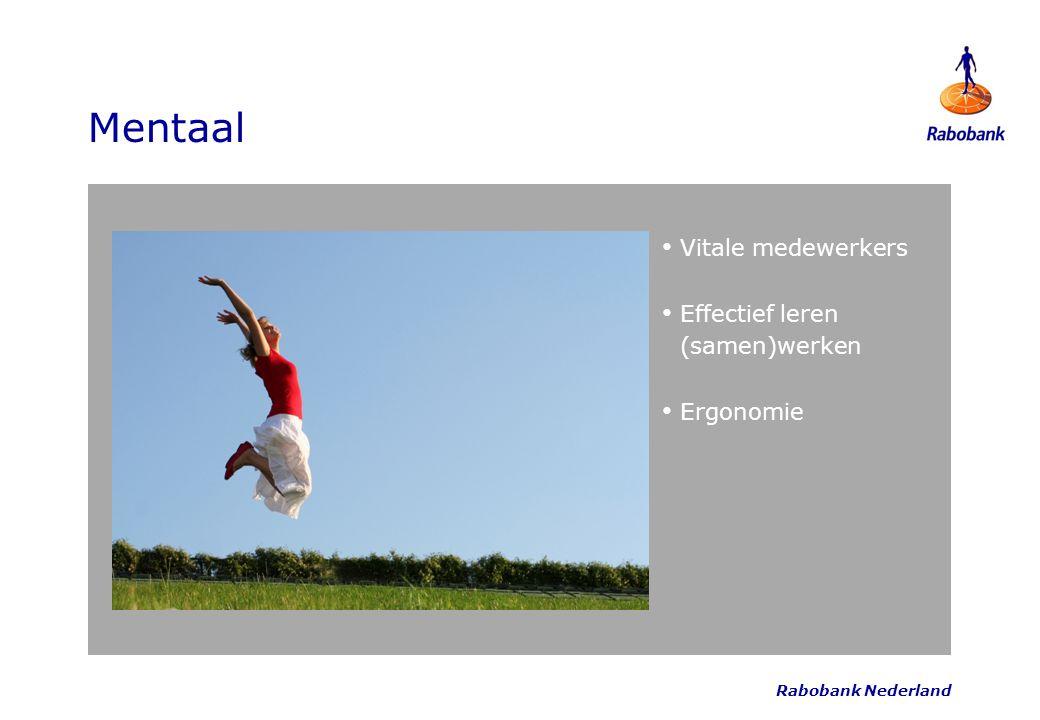 Rabobank Nederland Mentaal Vitale medewerkers Effectief leren (samen)werken Ergonomie