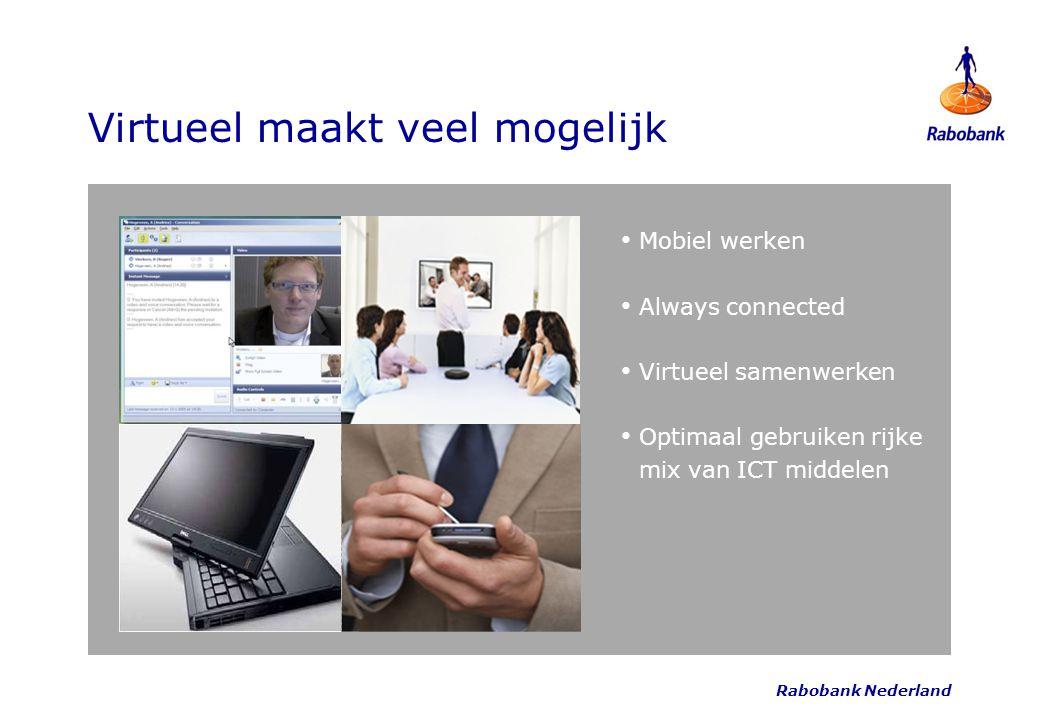 Virtueel maakt veel mogelijk Mobiel werken Always connected Virtueel samenwerken Optimaal gebruiken rijke mix van ICT middelen