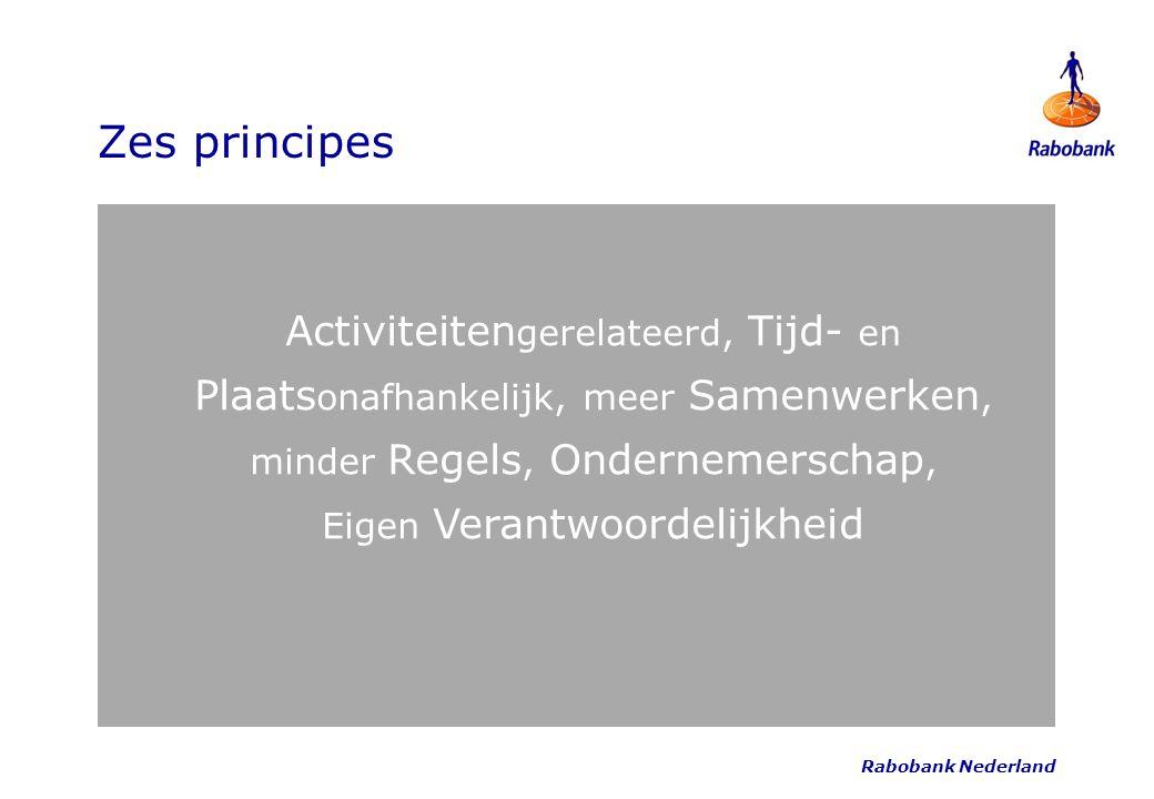 Rabobank Nederland Zes principes Activiteiten gerelateerd, Tijd- en Plaats onafhankelijk, meer Samenwerken, minder Regels, Ondernemerschap, Eigen Vera