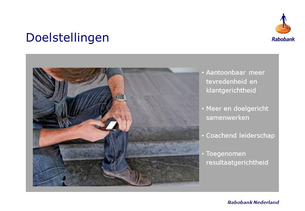 Rabobank Nederland Doelstellingen Aantoonbaar meer tevredenheid en klantgerichtheid Meer en doelgericht samenwerken Coachend leiderschap Toegenomen re